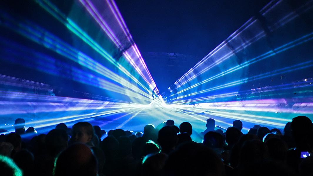 Lasershow zur Einweihung des Kocherquartiers in Schwäbisch Hall